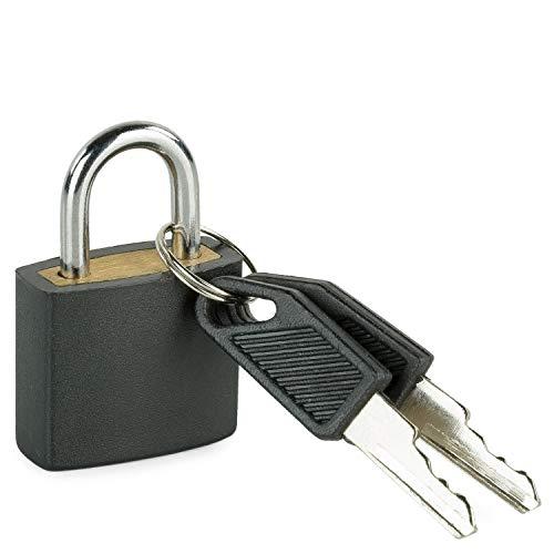 TEMPO - candado metálico con Llave. múltiples usos: para Maletas, taquillas, Herramientas, Equipaje, Colegio. aleación de Zinc y abs. y 00103, Color Negro