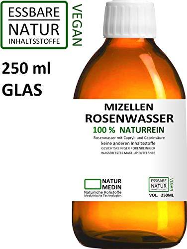 MIZELLEN ROSENWASSER 250-ml, Mizellenwasser, Gesichtswasser, 100% naturrein, nur 2 essbare Inhalsstoffe ohne Zusatzstoffe, wasserfestes Augen Make-up Entferner, Glasflasche, nachhaltig