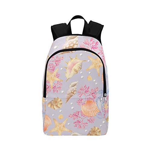 ZXWXNLA School Bags Kids Cute Cartoon Pink Underwater Creature Durable Water Resistant Classic Best Bookbag Hike Bags for Men Large Casual Tote Bag Casual Sling Bag for Men
