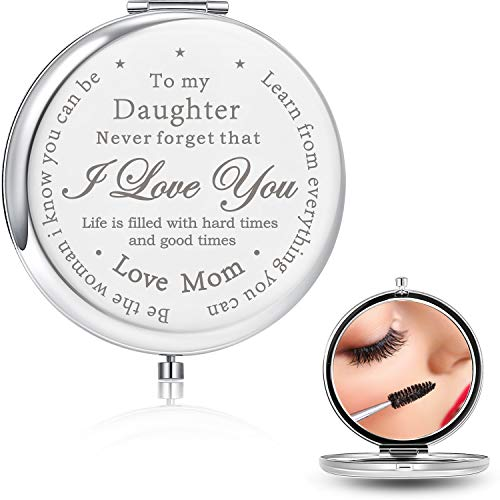 Blulu Daughter Gifts from Mom and Dad, Unique Birthday Gift Ideas for Daughter,Engraved Pocket Makeup Mirror Gifts for Daughters,Graduation Birthday for Her (to Daughter from Mom A)