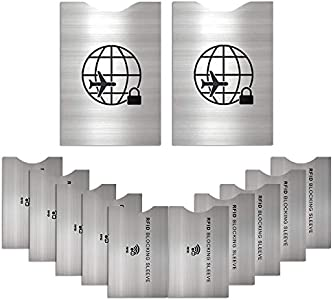 12 Protectores de Bloqueo para Prevenir RFID -ANTI-FRAUDE Fundas para Tarjeta de Crédito, Débito y Tarjeta de Identificación - Protector de Pasaporte - Protección 100% de RFID NFC - Elegante Aluminio