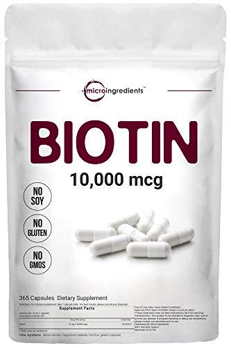 Micro Ingredients Biotin 10000 mcg, Biotin Capsules, 365 Counts, Support Hair, Nail, Skin and Metabolism, Premium Biotin Vitamins, Non-GMO