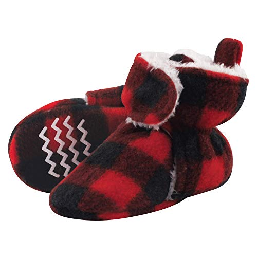 Hudson Baby Unisex Baby Cozy Fleece and Sherpa Booties, Black Red Plaid, 6-12 Months