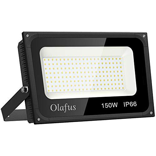 Olafus 150W Focos LED Exterior, IP66 Impermeable 15000LM 5000K Blanco Frío Floodlight LED, Equivalente a 850W Halógeno, Foco para Iluminación de Seguridad, Almacén, Garaje, Patio, Fábrica