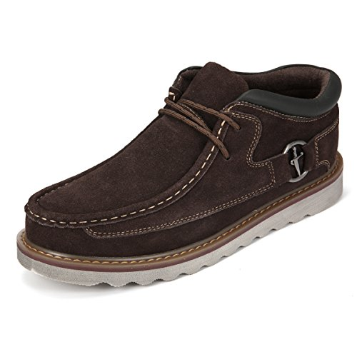Suede Casual Shoes,Gracosy Men Classic Retro Sewing Boots, Lace Up Leather Casual Shoes Dark Brown 10.5 D(M) US