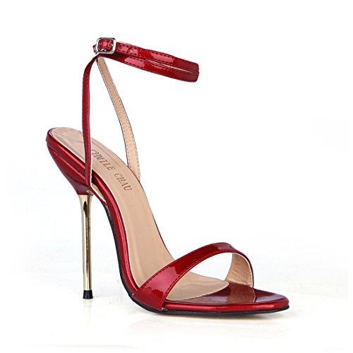CHMILE CHAU-Zapatos para Mujer-Sandalias de Tacon Alto de Aguja Metálico-Sexy-Vestido de Fiesta-Tira de Tobillo-Punta Abierta