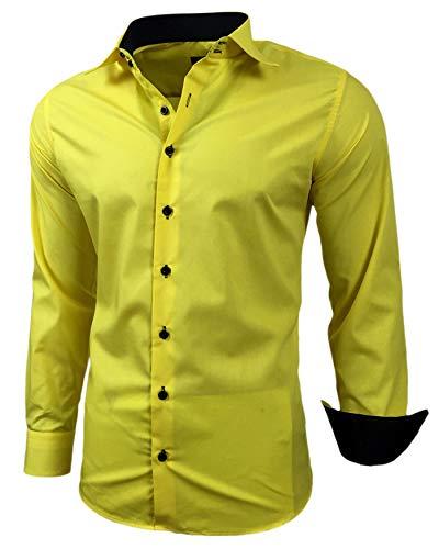 Baxboy Herren-Hemd Slim-Fit Bügelleicht Für Anzug, Business, Hochzeit, Freizeit - Langarm Hemden für Männer Langarmhemd R-44, Farbe:Gelb, Größe:XL
