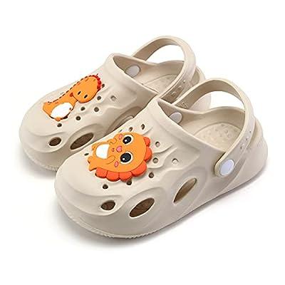 UBFEN Kids Clogs Garden Shoes Shower Pool Beach Sandals Dinosaur Non-Slip Lightweight Slide
