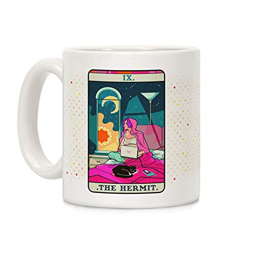 N\A Taza de café de cerámica Blanca de la Tarjeta del Tarot del ermitaño de 11 onzas