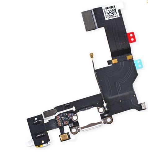 XcellentFixParts Reemplazo Conector Dock para iPhone 5s (Plate/Blanco), con Puerto USB, Micrófono, Audiojack, Conexión de Antena y botón de Inicio Instalado Flex Cable