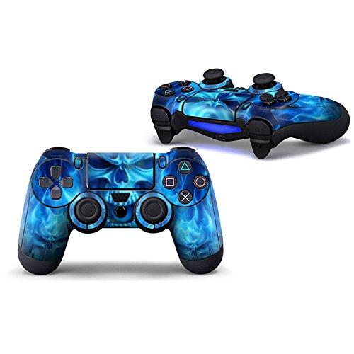 Morbuy PS4 Controller Skin Diseñador Piel Pegatina para Sony Playstation 4 PS4 Slim PS4 Pro DualShock Mando inalámbrico x 1 (Skull Fire Blue)
