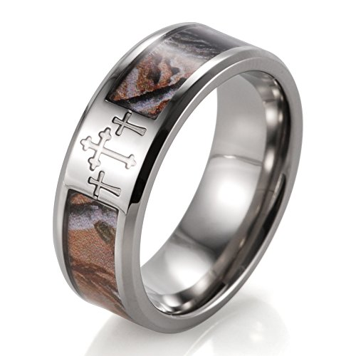 SHARDON Men's 8mm Titanium Wedding Bands 3 Crosses Tree Camouflage Christian Ring Size 10
