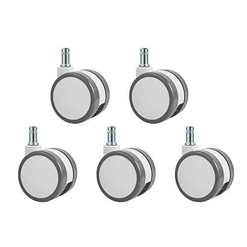 Z·Bling Ruedas para Silla de Oficina de 11MM - Set de 5 Ruedas de 65MM de diámetro - Ruedas de Repuesto giratorias de Goma Anti rayaduras - Blanco