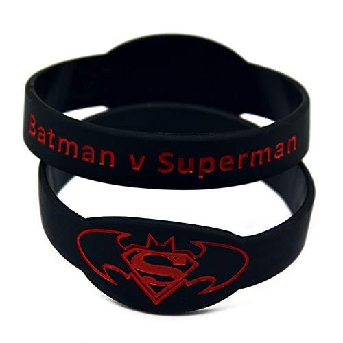 Xlin Pulsera Batman Superman V Reloj Pulsera Tipo Pulseras De Silicona Suave (Color : Black-Red)