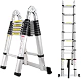 5M Telescopic Ladder DIY Aluminum Alloy Portable Folding A-Shape Extendable (2.5M+2.5M) Extension Ladders EN131 Load Capacity 330lbs