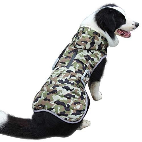JoyDaog Sweat à capuche en polaire pour grands chiens - Veste chaude pour l'hiver froid - Imperméable - Avec capuche - Vert - XXL