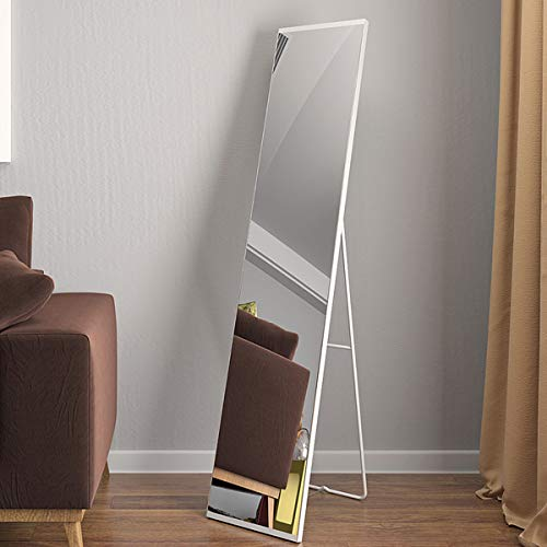 ACRO Full Length Mirror Full Body Mirror with Standing Metal Frame Floor Dressing Mirror Side Frameless Design (White,59'x12')