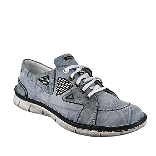 KRISBUT Sneakers Leder Schnürschuh Damen 2419-4-1 Farbe Blau, Schuhgröße 38