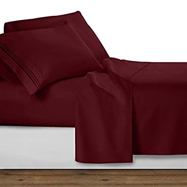 Clara Clark Premier 1800 Collection Deluxe Microfiber 3-Line Bed Sheet Set, Burgundy Red, Queen Size