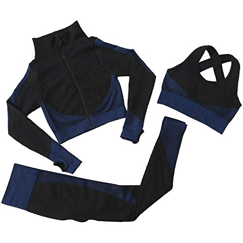 3pcs sin Fisuras Las Mujeres Traje Yoga Escudo de Manga Larga Chaleco Polainas de Fitness Gimnasio chándal de Deporte de la Ropa del (Azul, S)