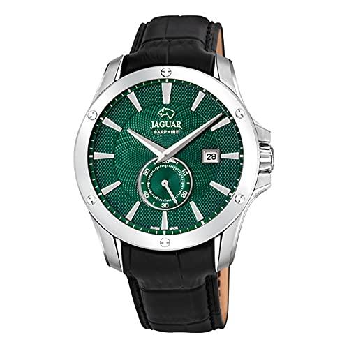 JAGUAR Reloj Modelo J878/3 de la colección ACAMAR, Caja de 44 mm Verde con Correa de Piel Negro para Caballero