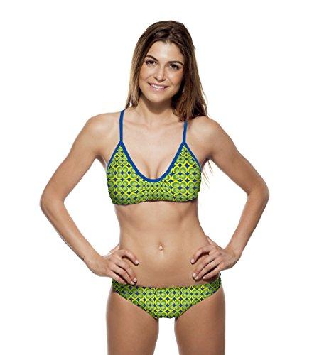 Turbo Bikini Flower 70 (Mare) Cup B C Swimkini für Schwimmerinnen - Top + Slip einzeln bestellbar (Top dt. Gr. 32 BZW. 158 / Turbo Gr. M)