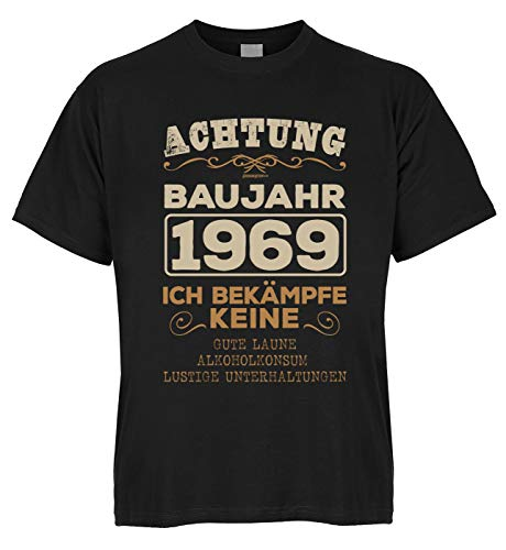 Cumpleaños Set Shirt Bio Algodón con Mini Achtung Año 1969 Ich bekämpfe Keine Gute Laune, alcohol consumo Negro M