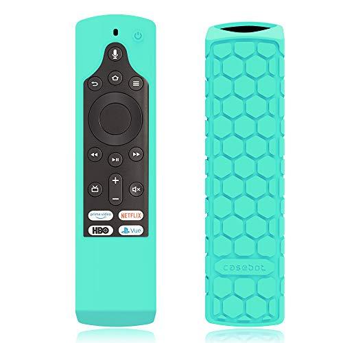 CaseBot Silicone Case for Fire TV Edition Remote - Honey Comb Series [Anti Slip] Shock Proof Cover for Amazon Insignia/Toshiba 4K Smart TV Voice Remote/Element Smart TV Voice Remote, Turquoise