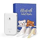 MUNBYN Etiquetadora portátil Bluetooth, Mini impresora térmica inalámbrica de etiquetas con 3 rollos