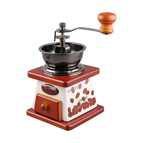 Yongqin Coffee Grinder Burr Manual Coffee Grinder, Vintage Style Wooden Hand Coffee Mill Made, Drip-Type Kitchen Dedicated Very Suitable For A Gift To Your Loved Ones