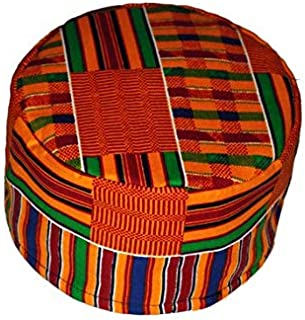 rags `n prints African Kente Kufi hat Orange