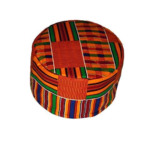rags 'n prints African Kente Kufi hat Orange