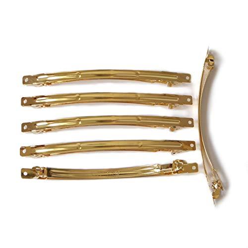 rougecaramel - 12 barrettes fines longues en métal doré 10cmx0,6cm