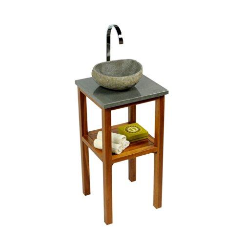 wohnfreuden Teakholz Waschtisch Unterschrank mit Waschtischplatte aus Flußstein 40x40x80 cm für Bad Gäste WC