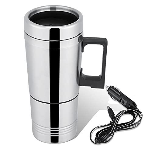 HERCHR 12v/24v 300ml Reiseauto Wasserkocher, Edelstahl Auto Heizbecher für Wasser, Tee, Kaffee, Milch(24V)