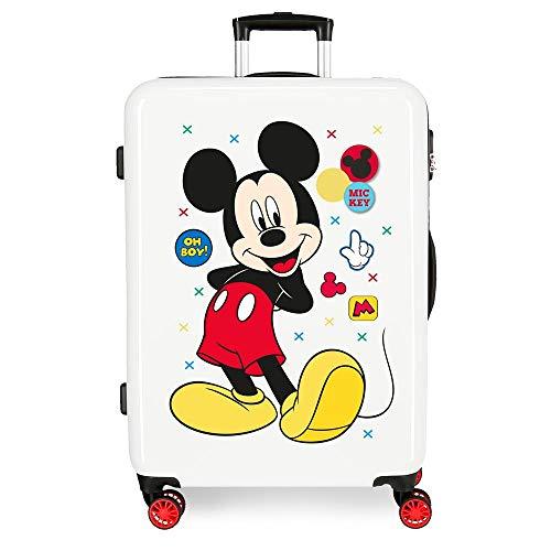 Disney Mickey Enjoy The Day Maleta Mediana Blanco 48x68x26 cms Rígida ABS...