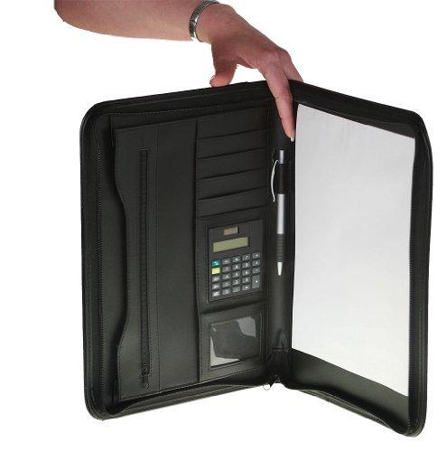 Aktentasche + A4 Rechner Dokumentenmappe + Schreibblock Mappen schwarz Schreibmappe 34,5 x 26 x 3 cm Sammelmappe