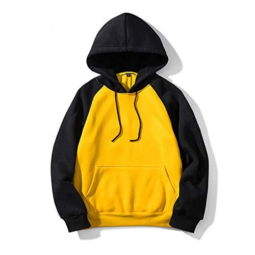 Sudadera Capucha Hombre Sudadera Hombres Suelto Hoodie Hombres Otoño Invierno Forro De Terciopelo Hip Hop Hoody Sweatshirt (Black and Yellow 2, L)