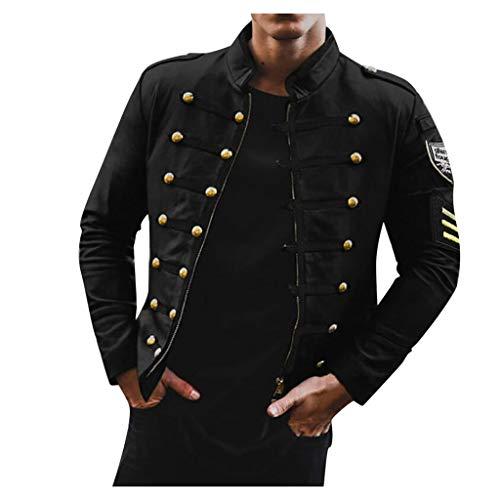 Binggong Herren Steampunk Jacke Smoking Mantel Frack Gothic Uniform Retro Mittelalter Kostüm Karneval Party Oberbekleidung Middle Collar Jacket