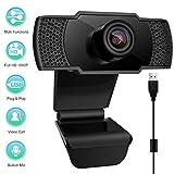 swonuk 1080P Webcam Micrófono, Webcam Desktop y Laptop USB, para videollamadas, Estudios, conferencias, Juegos