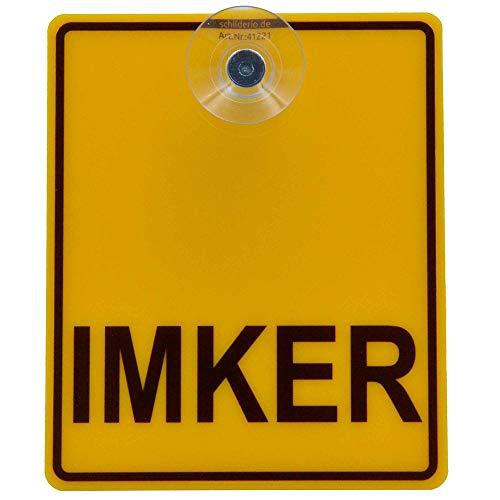 Saugnapfschild Schild IMKER 100x120mm für Auto Scheiben Innenbefestigung