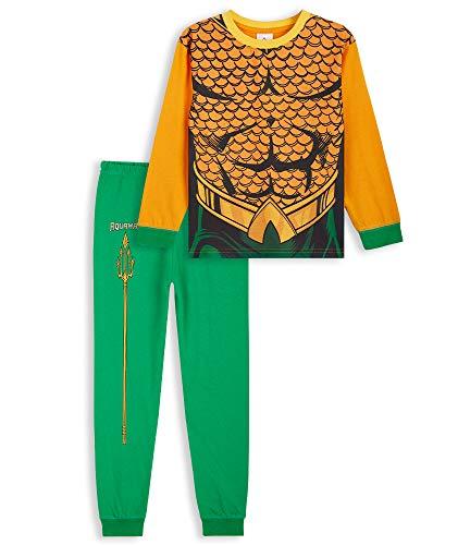 DC Comics Aquaman Pijama Niño, Conjunto Pijamas Niños Algodon, Pijama Niño Invierno Manga Larga, Merchandising Oficial Regalos para Niños y Adolescentes 5-14 Años (Naranja, 5-6 años)