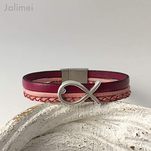 Armband Leder mit Fisch pink, Konfirmation, Magnetverschluß, handmade by Jalimei