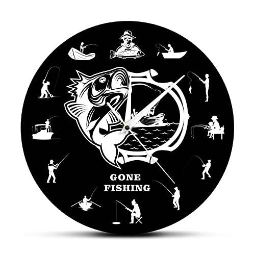 hufeng Reloj de Pared Gone Fishing Reloj de Pared Moderno Bass Pesca Pescadores Reloj de Pared Decorativo Divertido Hombre de Pesca Cueva Decoración del hogar Pescador Regalo de papá