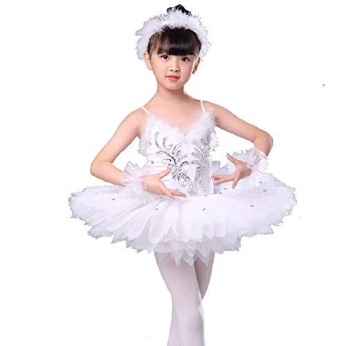 ZLYY Profesional Blanca Lago de los cisnes Ballet del tut del Ballet del Traje de la Bailarina Vestido Nias Nios del Vestido Dancewear Danza para la Muchacha,150CM