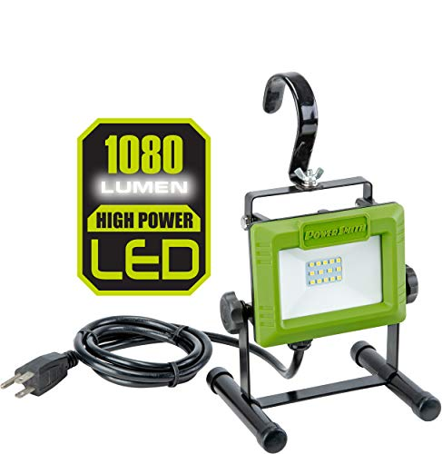 PowerSmith PWL110S 1080 Lumen LED Weatherproof Tiltable Portable Work Light with Large Adjustable Metal Hook, 360° Tilt, Metal Stand, Impact-Resistant Glass Lens, and 5' Power Cord