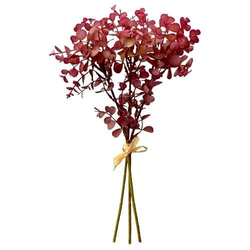 Künstlicher Eukalyptuszweig Eukalyptus- Real Touch Premium Qualität, Blumendekoration, Blumenarrangement (40 cm - 3 Zweige Bund, Violett)