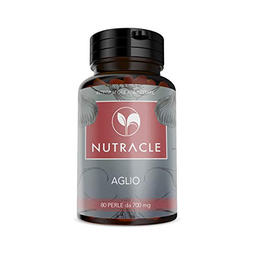 Nutracle Aglio 80 perle da 700 mg - Integratore per Colesterolo e Trigliceridi - Controllo Pressione Arteriosa - Capsule softgel Inodore e Insapore