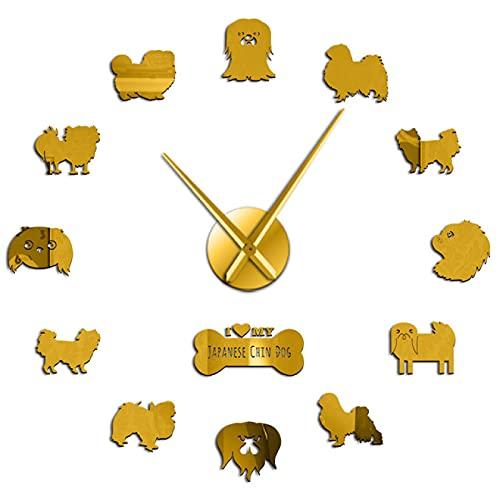 Reloj de Pared I Love My Japanese Chin Dog, Reloj de Pared DIY, Pegatinas artísticas, Cachorros, Perros, Mascota, decoración del hogar, Oro, 47 Pulgadas