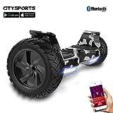 CITYSPORTS Balance Board Tout Terrain 8.5', Self-Balancing Scooter Hummer SUV, Bluetooth et APP, 700W (Vert armée)